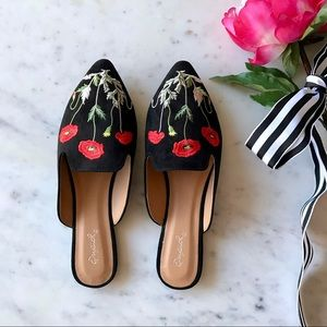 Shoes - Poppy Embroidered Slip On Mule Flats